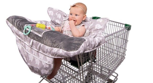 Luxury High-end 2-in-1 Baby Shopping Cart Cover & High Chair Covers with Safety Harness for Babies & Toddler (Unisex Grey)