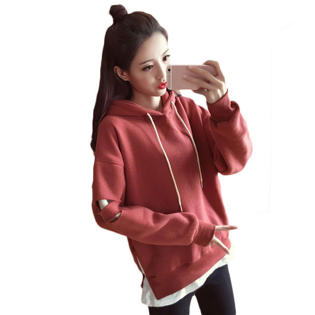Sweatshirts Female 2018 Spring Autumn New Korean Loose Hooded Tops Student Long-Sleeved Lazy Wind Fake Two-Piece Hoodies LQ304