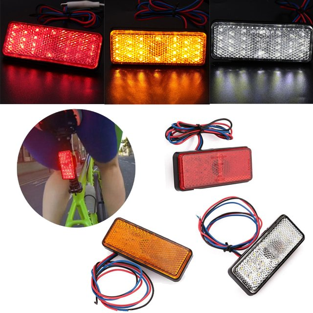 Square Motorcycle LED Reflector Brake Turn Signal License Plate Light Waterproof