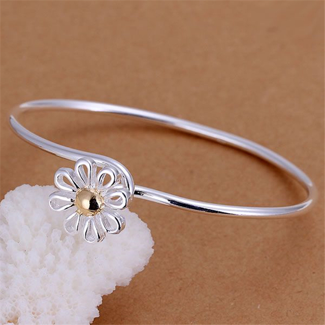 KN-B111 Wholesale Silver Color Bangle Bracelets Factory Price 925 Free Shipping Fashion Jewelry Small Chrysanthemum Bangles