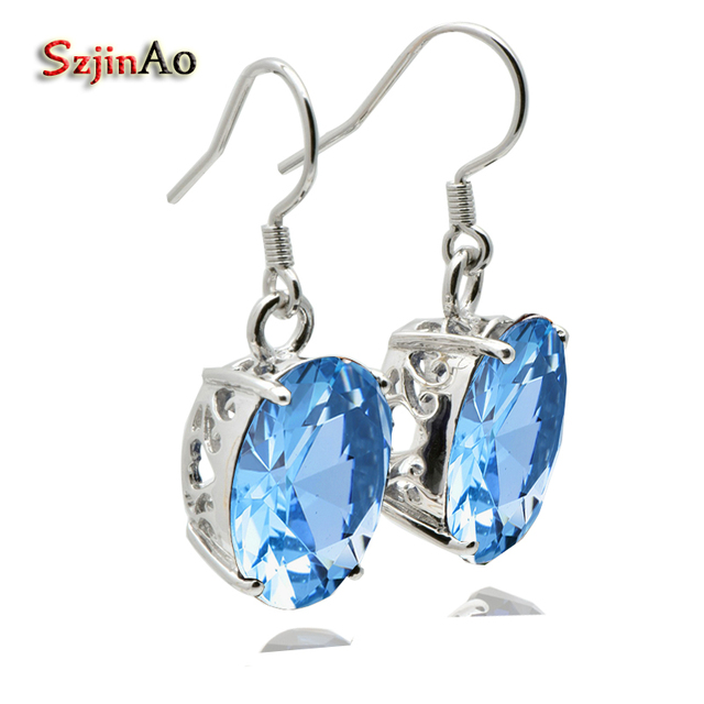 Szjinao 100% Handmade Charms Earrings Women Jewelry Aquamarine Oval 925 Sterling Silver Earrings Processing Customized