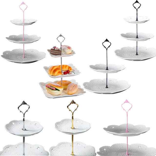2 Tier Hardware 3 Tier Crown Metal Cake Plate Stand Fitting Party Gold