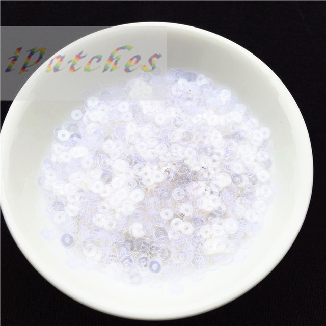 4000pcs(10g) 3mm White Transparent Sequins Paillette Sewing Craft Good Quality flat round loose Sequin for Clothing Accessories