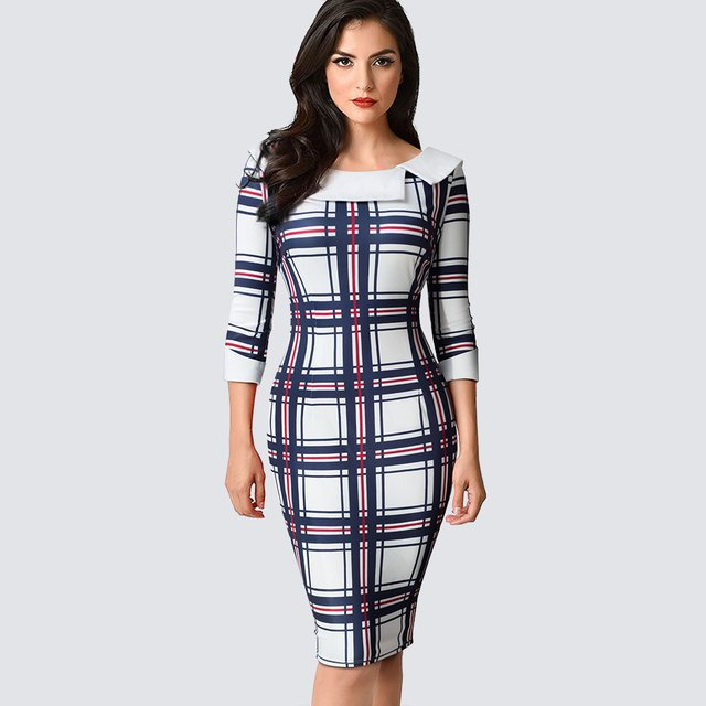 Classic Plaid Bodycon Slim Pencil Autumn Dress Casual Work Business Office Lady Dress HB468