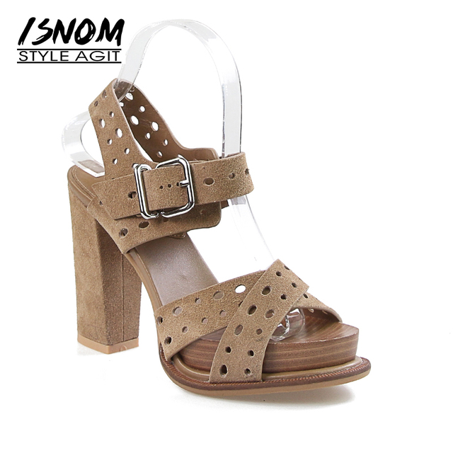 ISNOM New Summer High Heels Sandals Women Peep Toe Cow Suede Sandals Shoes Square Cutout Footwear Platform Office Female Shoes