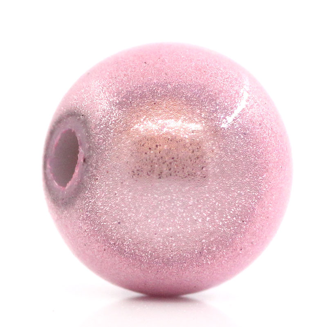 DoreenBeads ABS Spacer Beads Round Pink Miracle/Illusion 8mm Dia, Hole:Approx 1.7mm, 100PCs (B25937), yiwu