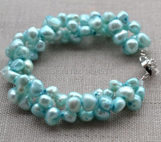 Wholesale Pearl Jewelry, 7 inches Baby Blue Genuine Freshwater Pearl Bracelet,6-7mm Twisted, Wedding Bridesmaids Gift Bracelet