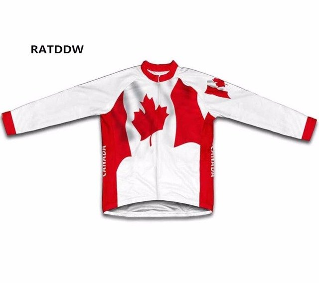 Canada Flag Men's winter thermal cycling clothing ropa ciclismo Winter Bike jersey/jacket/Clothing Top Shirt Red
