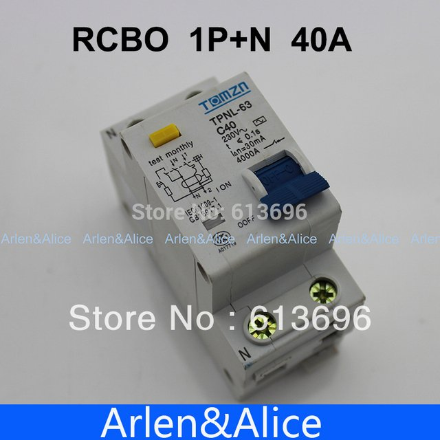 DPNL 1P+N 40A 230V~ 50HZ/60HZ Residual current Circuit breaker with over current and Leakage protection RCBO