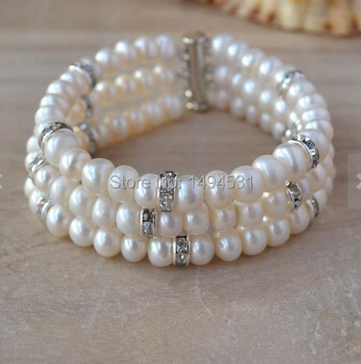 Wholesale Pearl Bracelet - 3 Rows 7.5Inches White Color Crystal Beads Genuine Freshwater Pearl Bracelet Handmade Jewelry