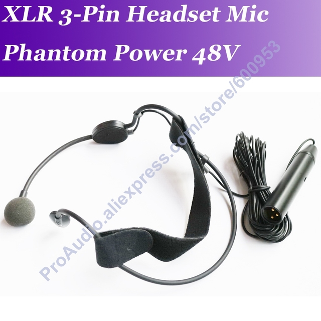 Professional MICWL ME3 48V Phantom Power Mic Headset Headworn Microphone XLR Male 3Pin 5m cable