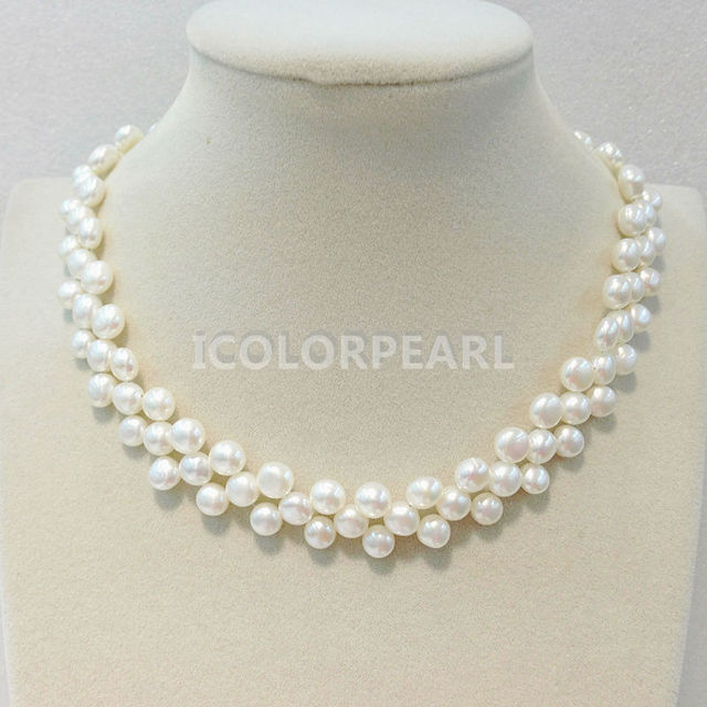 WEICOLOR Free Shipping! Beautiful Braided Three-Row white QQ Shape Natural Freshwater Pearl Necklace.