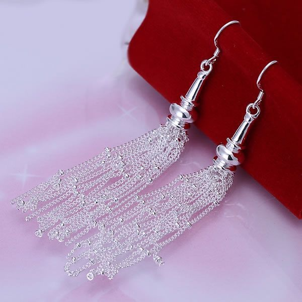 Free Shipping!!Wholesale jewelry silver plated Earring, silver plated Fashion Jewelry,Line With Beads Earrings SMTE113