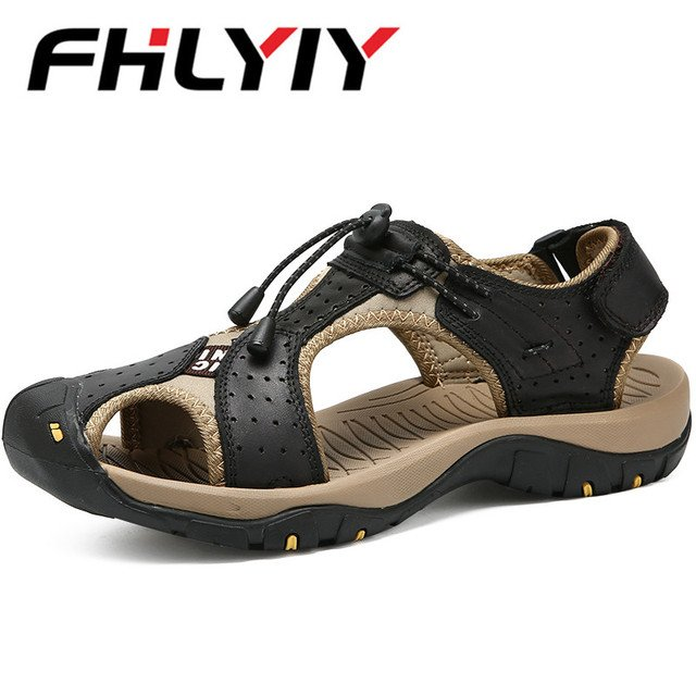 Men Genuine Leather Shoes Tracking Summmer Walking Sandals Mens 2018 New Big Size 46 Outdoor Beach Shoes Male Sandals Zapatos