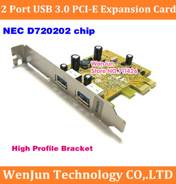 Hot SAEL Cableless 2 Port USB 3.0 PCI-E Expansion Card Adapter with High profile bracket External 2port USB3.0 NEC D720202