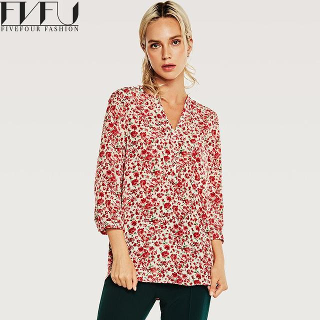 Fashion 2018 Blouse Shirts Women Vintage Red Flowers Blouse Women Tops Spring Autumn Long Sleeve Casual Loose Blouses Shirts