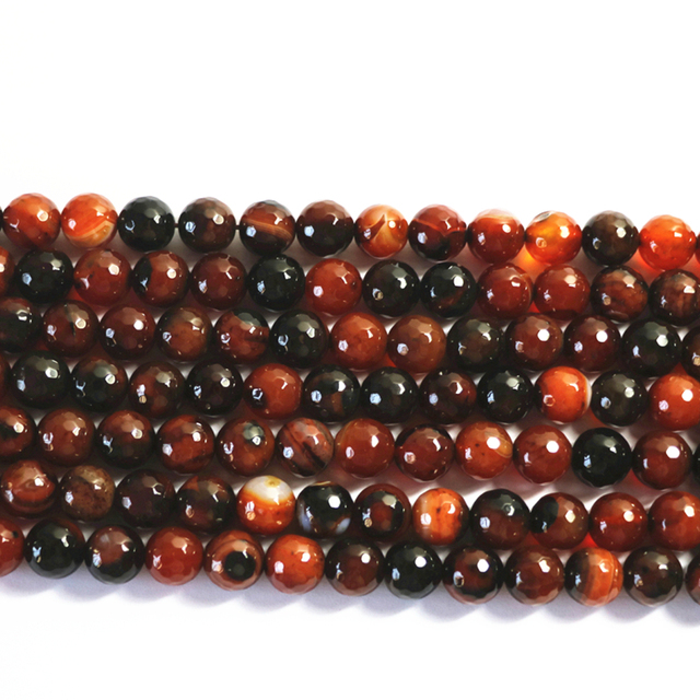 Natural stone dream carnelian agat onyx 6mm 8mm 10mm 12mm faceted round loose beads diy women fashion jewelry making 15inch A23