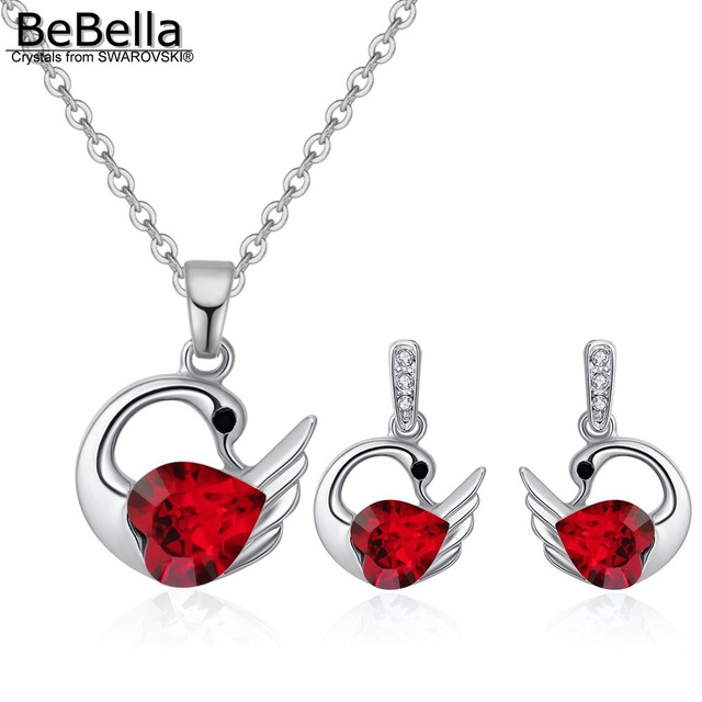 BeBella fashion swan necklace earrings jewelry set Made with Crystals from Swarovski jewelry for women Valentine's Day gift
