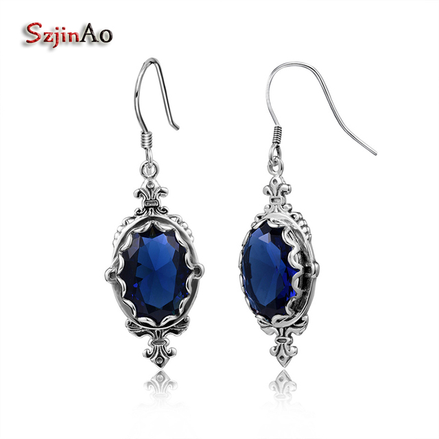 Szjinao Fashion Women Solid 925 Sterling Silver Earrings Sapphire Handmade Vintage Gorgeous Vintage Jewelry