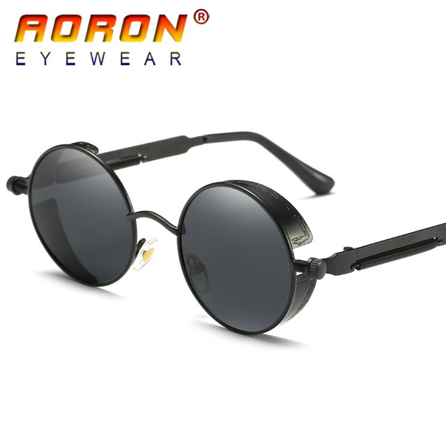 AORON Brand Men Polarized Sunglasses Gothic Steampunk Coating Mirrored Round Circle Sun Glasses Retro UV400 Vintage Eyewear 2018