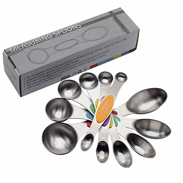 Stainless Steel Measuring Spoon Scale Kitchen Silicone Measuring Cups and Spoons Set for Baking Sugar Coffee Measuring Tools