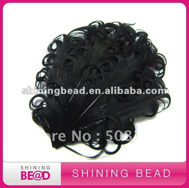 black curly feather pad