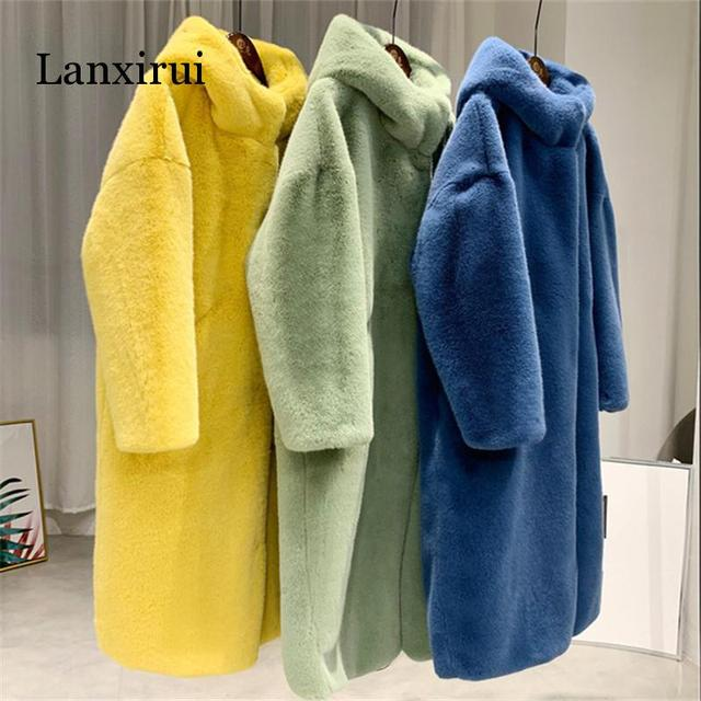 Autumn Winter Mink Women Fur Coat Clothes Plus Size Korean Faux Fur Streetwear Hooded Loose Thick Warm Long Coat Female
