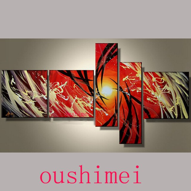 Free Shipping Hand Painted Red Abstract Landscape For Room Wall Home Decor Oil Painting On Canvas 5pcs/set Pictures On Wall