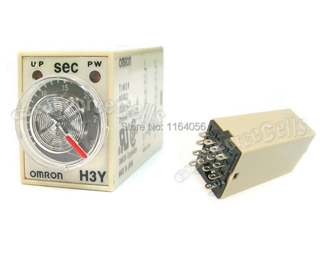 AC 110V 14 Pins 4PDT 0~5 Second Timer Delay DIN Rail Time Relay H3Y-4
