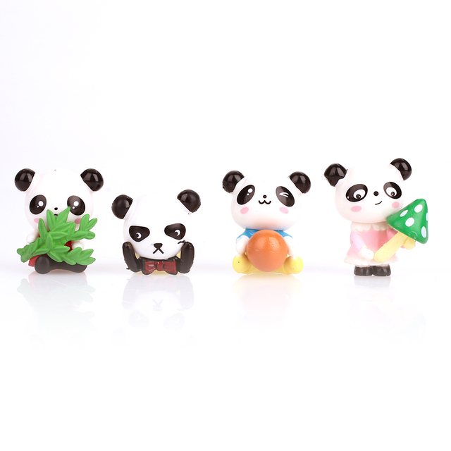 2018 Drop Shipping Panda Potted Decor Small Gift Mini Panda Doll 4pcs Interesting Model Panda Ornaments Flower Pot