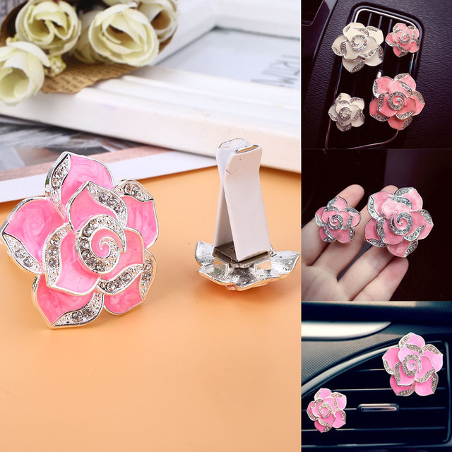 Diffuser Auto Supplies Aromatherapy Vent Clips Universal Vehicle Car Decoration Ornament Pink Flower Shape Hanging Fragrant