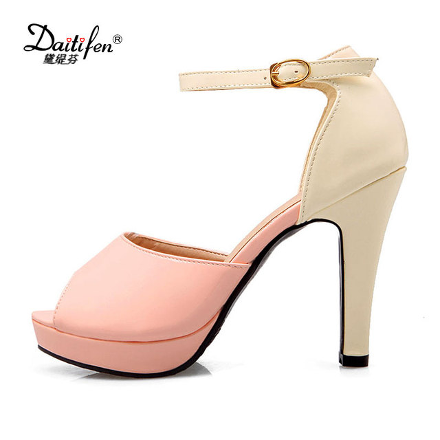 Daitifen mature sexy women high heels Sandals stylish Mixed color Peep toe Ankle strap shoes ladies Party Platform Sandal heels