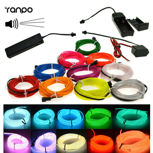 Hot 1M-5M LED Glow EL Wire Light String Strip Rope Car Party+Sound Activated Remote/12/3V Controller 10 Colorful