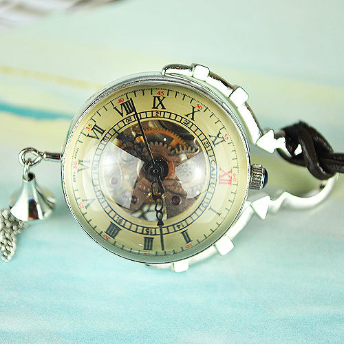 brass ANTIQUE STYLE crystal ball mechanical POCKET WATCH CHAIN sliver