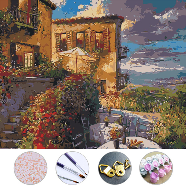 Garden House Diy Oil Painting drawing Frameless picture on wall acrylic painting by numbers on the canvas modular paintings