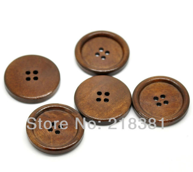 50PCs Free Shipping Reddish Brown 4 Holes Round Wood Sewing ButtonsScrapbook 30mm A00640