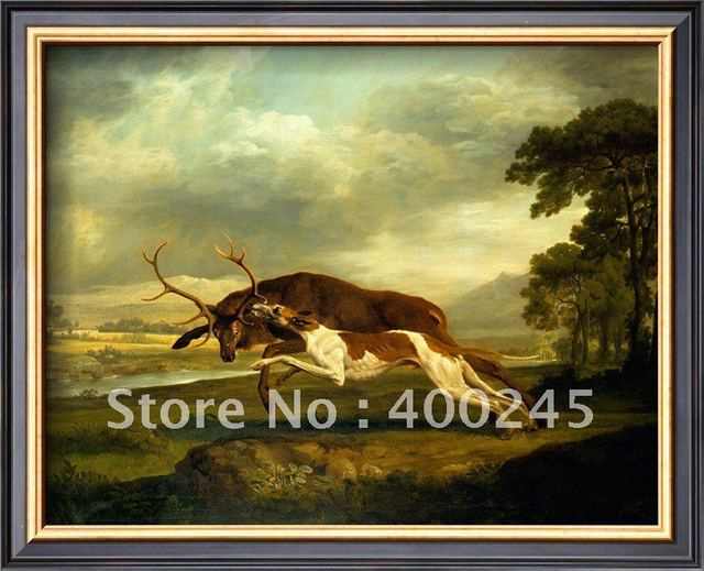 oil painting dogs room decor A Hound Attacking a Stag by George Stubbs painting canvas high quality+100% handmade