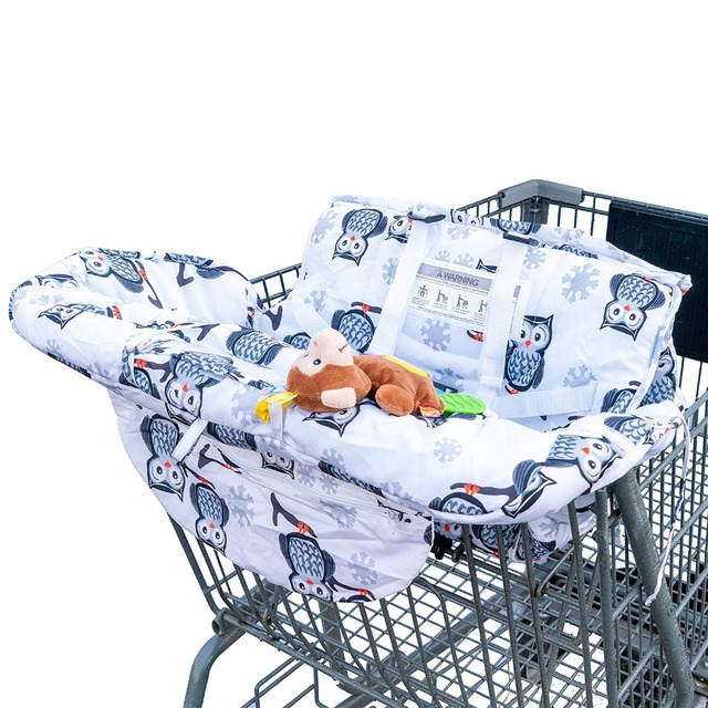 2in1 White Owl Baby Shopping Cart and Restaurant High Chair Cover - Fold into Small Bag for Easy Storage and Travel