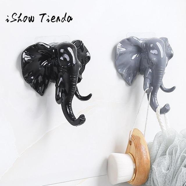 Elephant Head Self Adhesive Wall Door Hook Hanger Bag Keys Sticky Holder Sin Costura Vinculada #QG