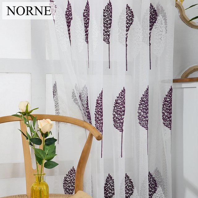 NORNE Embroidered Semi White and Purple Voiles Plant Tulle Sheer Curtain for Living Room Decoration,Window Curtains for Bedroom