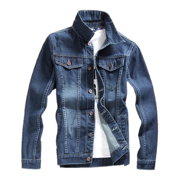 Nice Fashion Men Denim Bomber Jackets Coat Casual Jaqueta Masculina Mens Jean Jacket Dark Bue Solid Male Outwear Brand Clothing