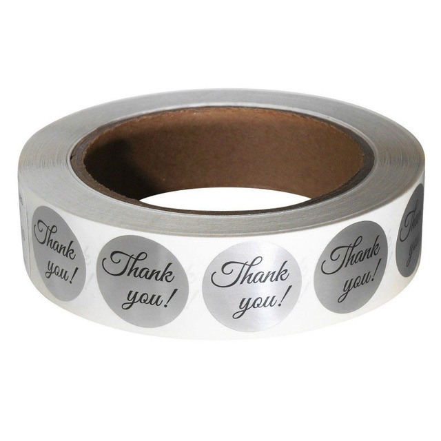 """500pc wedding decoration party decoration stickers Thank You Sticker Label Roll, 1"""" Circle, Silver Foil for Hand Made"""