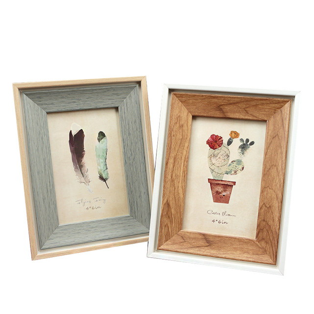 Creative Retro Wooden Photo Frame Ornaments Tabletop Feather Photo Frames Children's Picture Frame Crafts Home Decoration Gifts