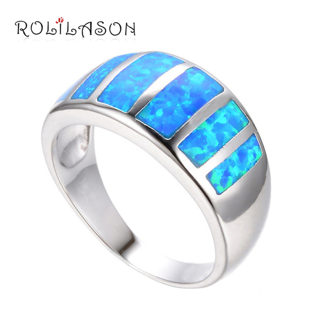Amazing Wholesale & Retail Party gifts Blue fire Opal silver plate stamped Rings  Opal jewelry USA sz  6.5# 7.75# OR513