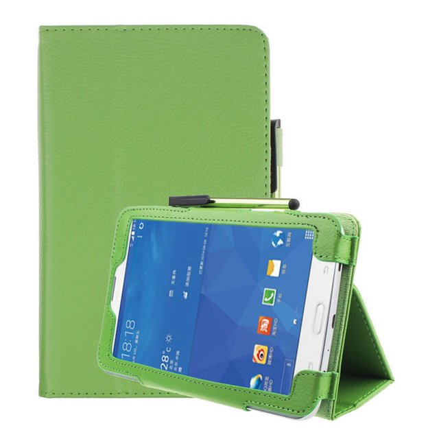 7 Inch Lychee Emboss Holster For Samsung Galaxy Tab 3 lite  green