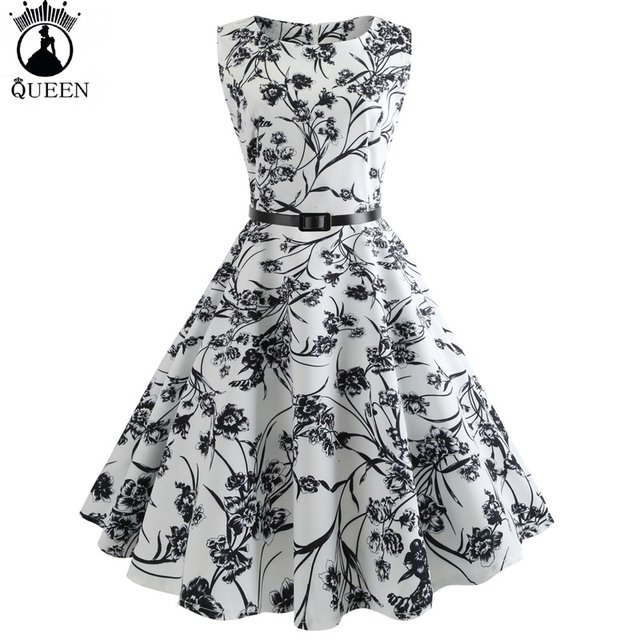Women Vintage Retro 60S 50S Rockabilly Dresses Pinup Casual Summer Print Dress Audrey Hepburn Vestidos Party Robe Dress
