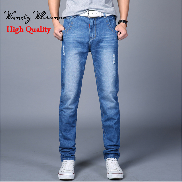 High Quality Jeans Men Business Casual Thin Summer Straight Slim Fit Blue Jeans Denim Pants Trousers Classic Cowboys Young Man