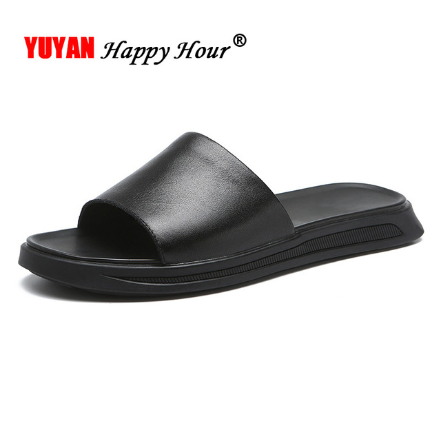 Genuine Leather Shoes Men Slippers 2020 Summer Beach Sandals Male Shoes Flat Casual Cow Leather Black Slippers KA1242