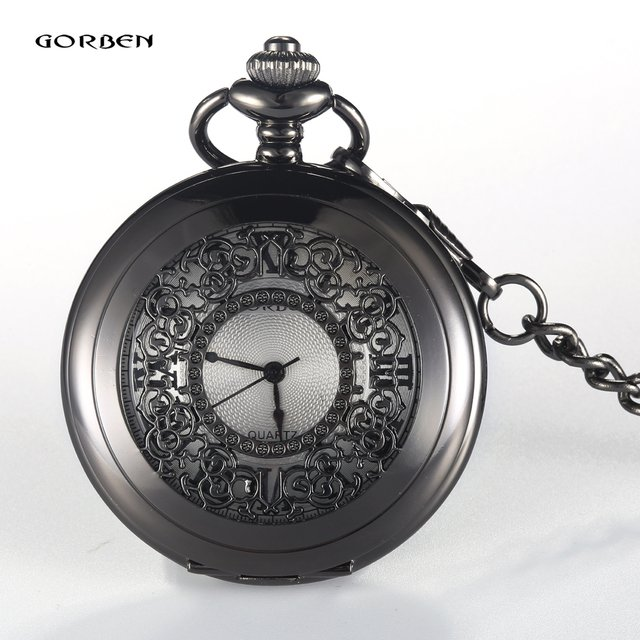 GORBEN Bronze Hollow Quartz Pocket Watch Roman Numbers Display Necklace Chain Clock Electronic Female Ladies Men's Watches Gifts