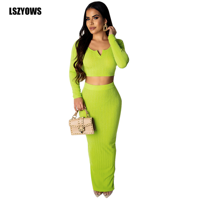 Neon Green 2 Piece Set Women Ribbed Knit Long Sleeve Crop Top And Maxi Skirt Two Piece Set Sexy Bodycon Long Dress Party Outfits